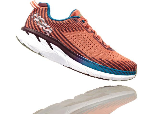 Hoka One One Clifton 5 Running Shoes Women Emberglow/Fig